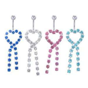 16L Surgical Steel   Blue Heart Belly Ring   14g 3/8 Length   Sold