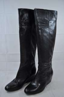 NINE WEST AMELIE BLACK LEATHER KNEE HIGH BOOT ZIP UP (#8440) 9.5