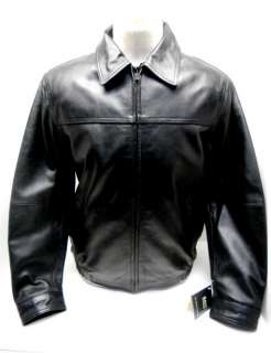 Brand Mens Leather Bomber Jacket Black Size M New With Tags