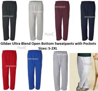 50 Ultra Blend Open Bottom Sweatpants with Pockets 12300 S 2XL
