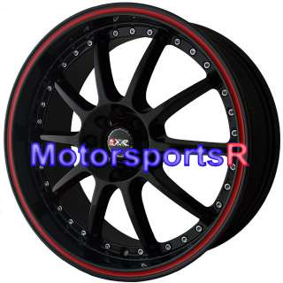XXR 941 Black Red Stripe Rims Wheels 4x100 06 09 10 11 12 Honda Fit EX