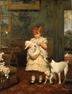 Charles Burton Barber Oil Painting repro Girl with Dogs