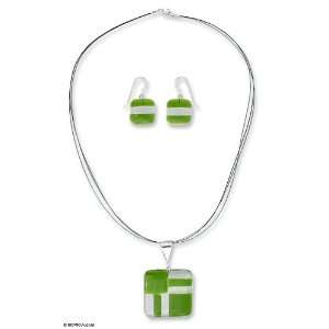 Dichroic glass jewelry set, Green Minimalism Jewelry