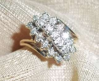 10k yellow gold diamond cluster .19ct ring sz 6