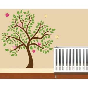 Kids childrens tree vinyl wall decal with 10 penelope birds and leaves
