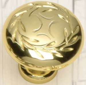 Cabinet Hardware Drawer Leaf Knobs 6464 Polished Brass Knob