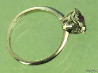 ANTIQUE 14K WHITE GOLD DIAMOND & GENUINE RUBY SOLITAIRE RING
