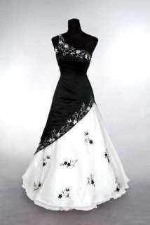 White+Black Embroidery Evening dress Prom ball DRESS Bridal gowns