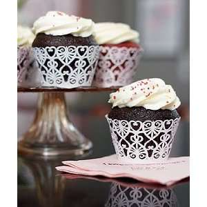 Lavender Wedding Cupcake Wrappers   Hearts Cupcake