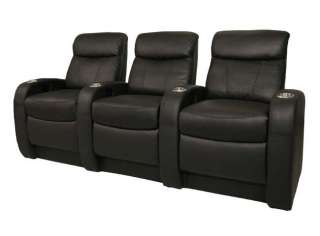Rialto Home Theater Stadium Seats 9 Black Leather Chair