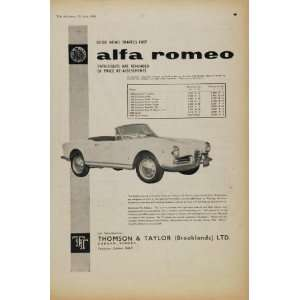 1961 Ad Alfa Romeo Spider Giulietta Vehicle Models United