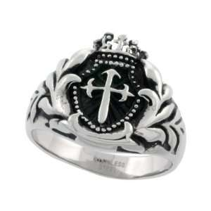 Surgical Steel St. James Cross Ring Blackened finish 9/16