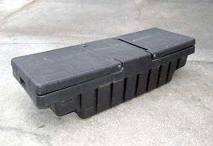 usable condition fiberglass or heavy plastic truck bed tool box No key
