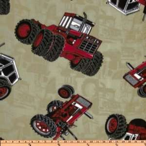 International Harvester Fleece Tractors Khaki/Red Fabric By The Yard