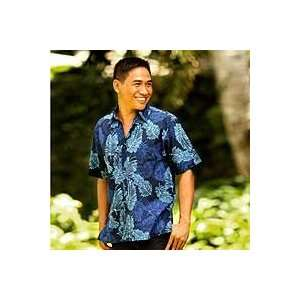 NOVICA Mens cotton batik shirt, Ocean Breeze