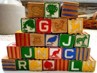 LOT vintage WOODEN TOY BLOCKS alphabet 25 PC pictures★