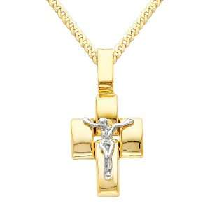 14K Yellow and White 2 Two Tone Gold Jesus Cross Religious