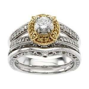 14k Two Tone Gold Diamond Semi Mount Engagement Ring