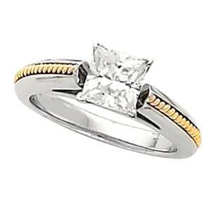 14K Two Tone Gold Diamond Engagement Ring Mounting   CENTER STONE NOT