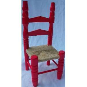 10 X 4 Doll House Chair, Wood and Wicker, Toy Toys