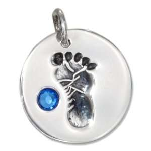 Sterling Silver Boy Baby Footprint Charm with Blue Cubic