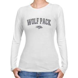Nevada Wolf Pack Ladies White Logo Arch Long Sleeve Slim