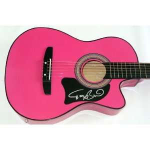 Tracy Byrd Autographed Signed Pink Guitar Dual Cert JSA