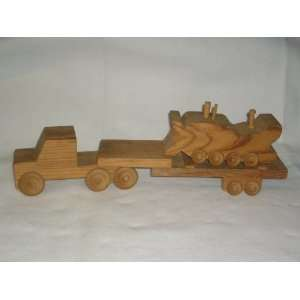 Wooden Toy Semi Truck with Trailer and Bulldozer