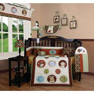 FUNKY MONKEY BABY BOY GIRL 13 P QUILT SET CRIB BEDDING