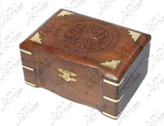 New Solid Wood Carved 3 Partition Jewelry Box India