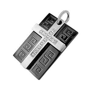 Bling Jewelry Mens Stainless Steel CZ Cross Greek Key Black Dog Tag