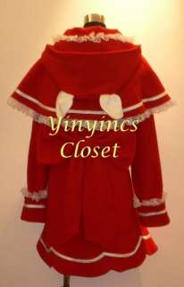 Cosplay Gothic Lolita Red coat Teddy Bear Hood costume