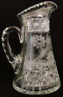 Antique Fry American Brilliant Cut Glass Crystal Pitcher & 6 Tumbler