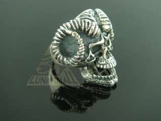 Egyptian 925 Silver Jewelry Ram Buck Skull Ring 10