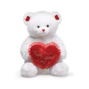 29 White Valentine Teddy Bear with Red Happy Valentines