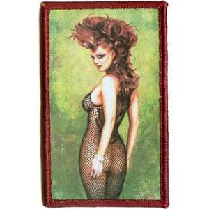 3.5 Olivia Bettie Page Sexy Black Fishnet Lady Patch