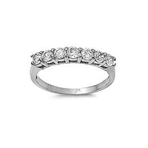 Clear CZ Silver Tone Stainless Steel Wedding Women Ring Band