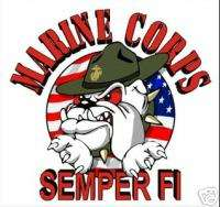 USMC MARINE CORPS BULLDOG CARTOON WINDOW CAR DECAL