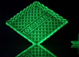 Art Deco Sowerby Green Uranium Pressed glass Diamond Point & Hobstar