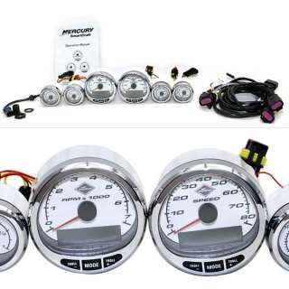 MERCURY SMARTCRAFT 6 pc BOAT GAUGE SET w/ CABLE ASSEMBLY