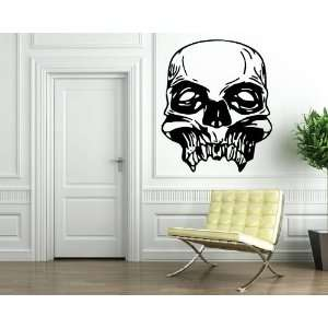 Cool Scary Human Skull Front View Design Wall Mural Vinyl