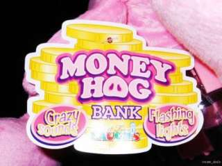 Money Hog Plush Pink Pig Piggy Bank Crazy Sounds Flashing Lights NEW