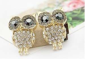 C4297 New Fashion Jewelry Womens Crystal Big Eye Owl Earrings Stud