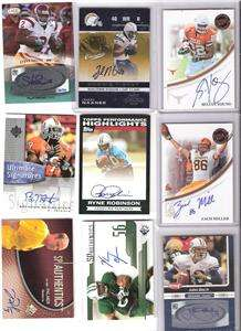 FOOTBALL AUTO JERSEY LOT 50 CARDS, INCLUDES 27 AUTOS 23 JERSEYS