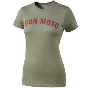 Icon Womens Retro T Shirt   X Large/Olive Green Automotive