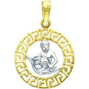 14K Two Tone Gold Aquarius Zodiac Charm Jewelry