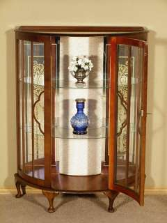 ANTIQUE English WALNUT Demilune CURIO Display CABINET w/ Mirrored Back