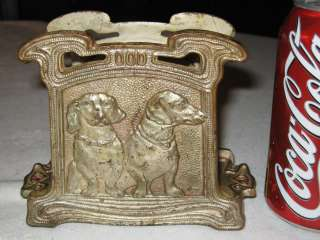 DACHSHUND DOG CAST IRON DESK TABLE LETTER PAPER RACK HOLDER HUBLEY ART