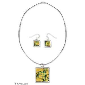 Dichroic art glass jewelry set, Citrus Cooler 16.5 L