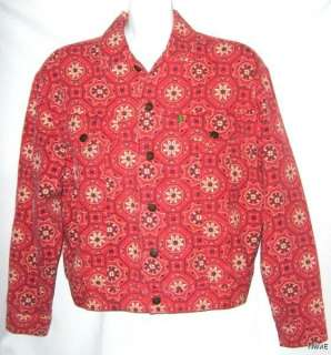 FABULOUS ESPRIT DE CORP RED JEANS JACKET, SIZE SMALL